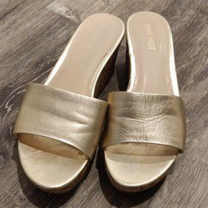 Nine West Gold Cork Wedge Sandals